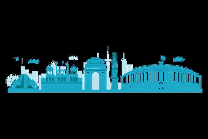 Delhi Skyline with landmarks Illustration
