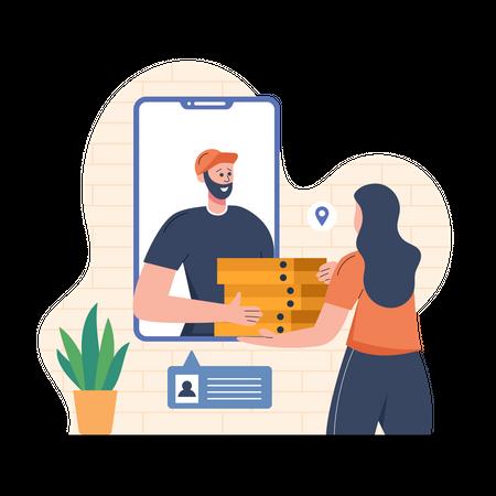Delivering Food from mobile Illustration