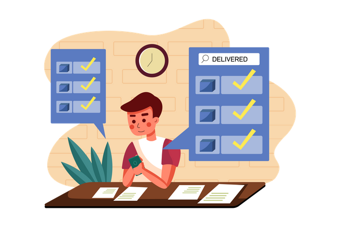 Delivery agent checking delivery status Illustration