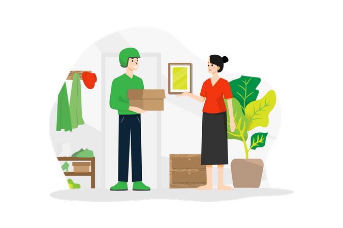 Delivery boy delivering parcel to a woman Illustration