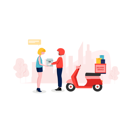 Delivery boy giving order to customer Illustration