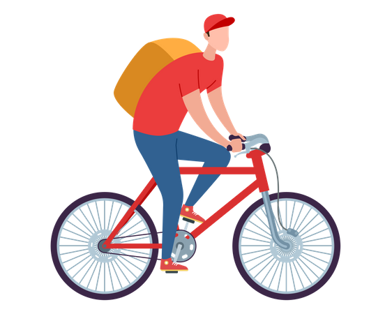Delivery boy on cycle Illustration