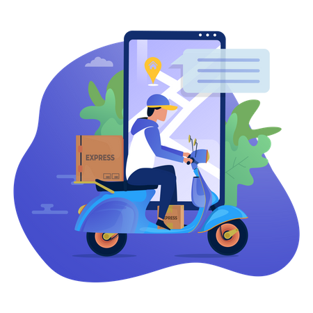 Delivery boy tracking the delivery location Illustration