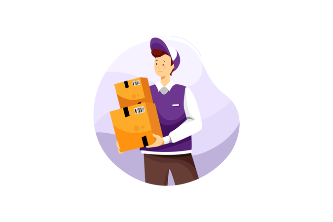 Delivery boy with boxes Illustration
