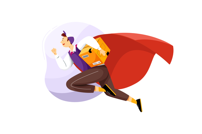 Delivery by super delivery man Illustration