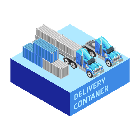 Delivery container and truck Illustration