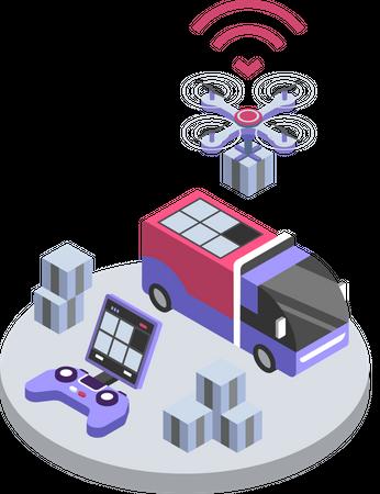 Delivery drone remote control Illustration