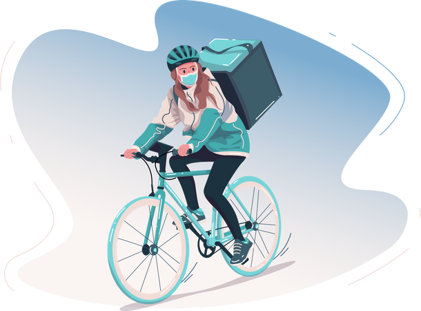 Delivery girl going to deliver courier Illustration