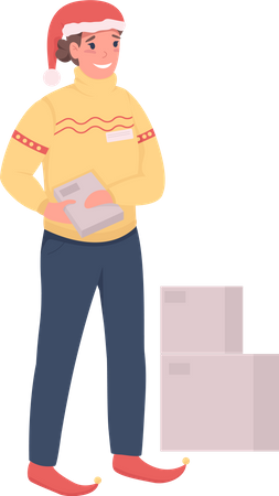 Delivery girl in Santa Claus hat doing Christmas delivery Illustration