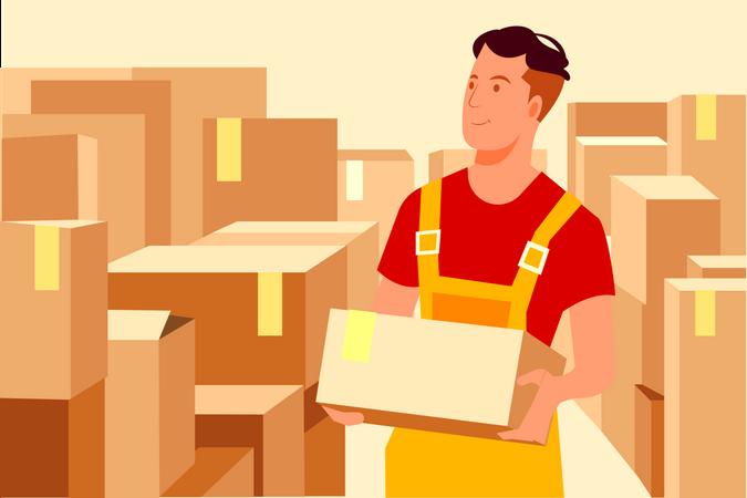Delivery guy arranging parcel Illustration