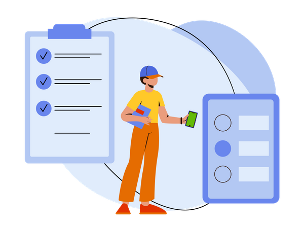 Delivery guy checking list Illustration