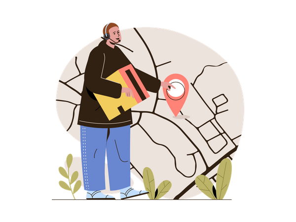 Delivery guy commuting through map Illustration
