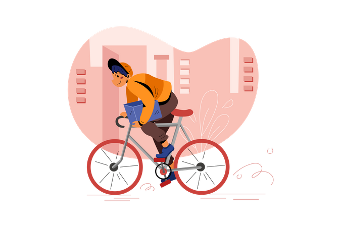 Delivery guy deliver the parcel on cycle Illustration