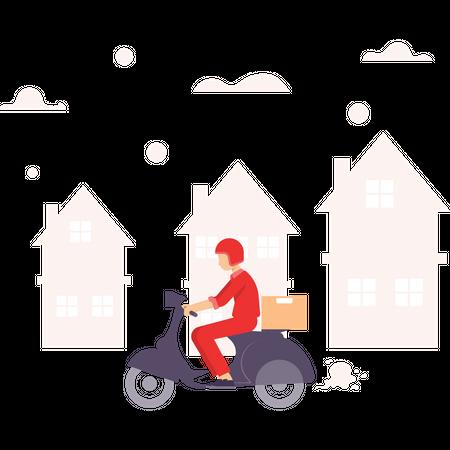 Delivery guy delivering parcel home to home Illustration