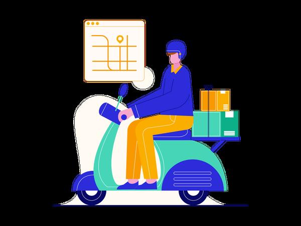 Delivery guy going to deliver parcel Illustration