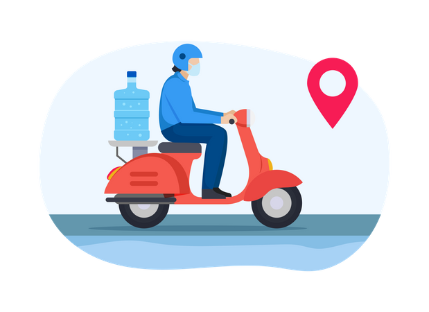 Delivery guy going to deliver water bottle Illustration