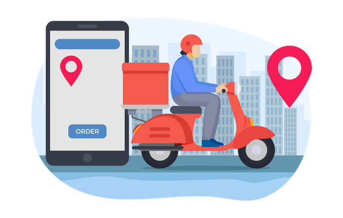 Delivery guy going to delivery food delivery Illustration
