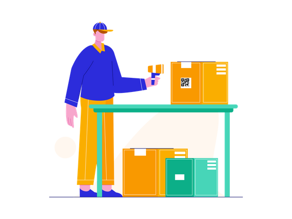 Delivery guy scanning barcode of delivery box Illustration