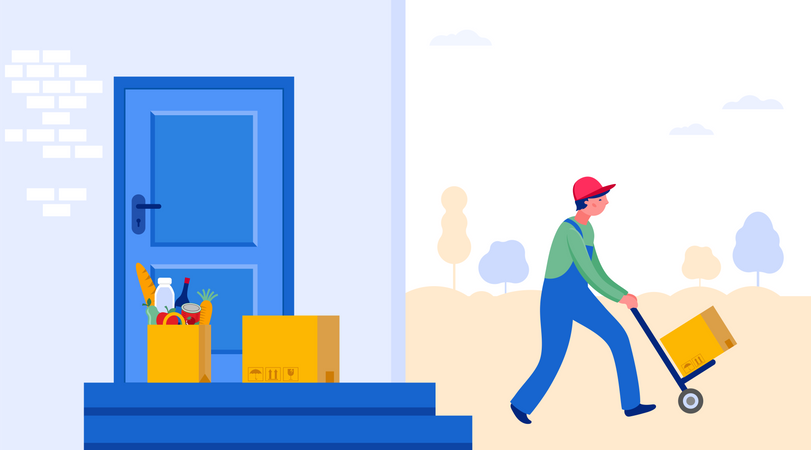 Delivery guy walking with shipment Illustration