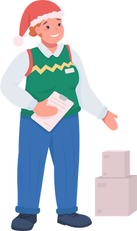 Delivery guy with package Illustration