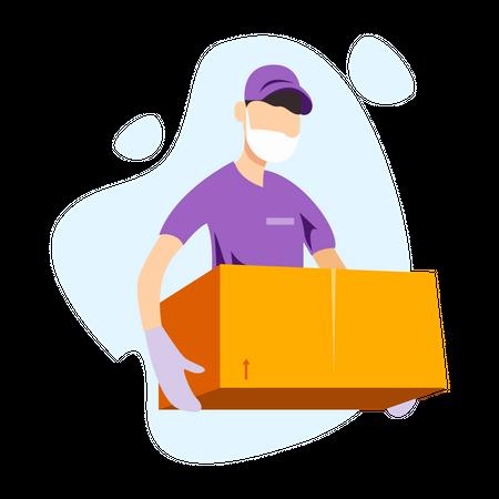 Delivery in Covid-19 season Illustration
