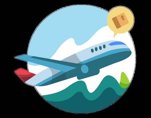 Delivery in plane Illustration
