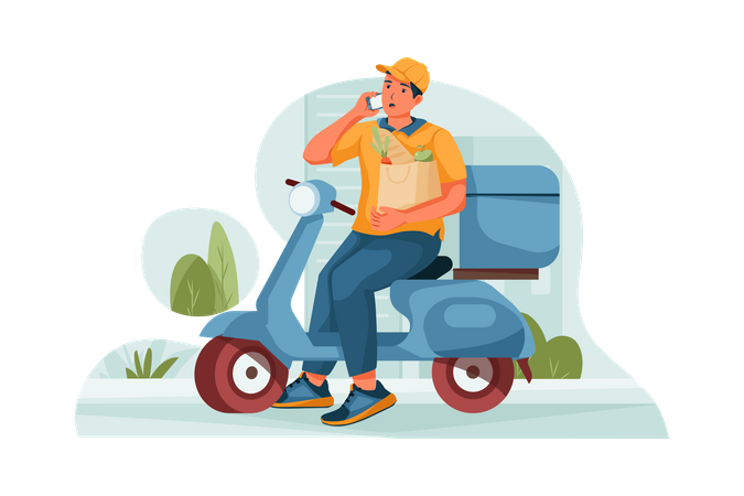 Delivery Man calling the customer to notify them Illustration