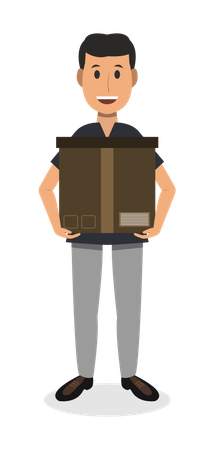 Delivery Man Carrying box Illustration