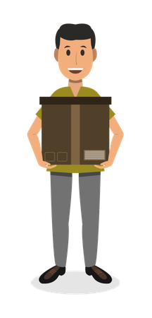 Delivery Man Carrying delivery parcel Illustration