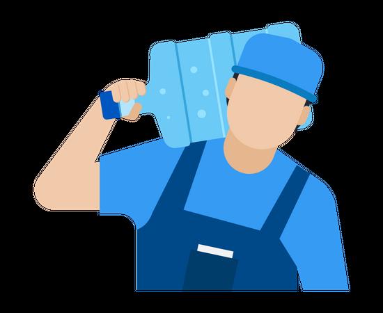 Delivery Man carrying water bottle on his shoulder Illustration
