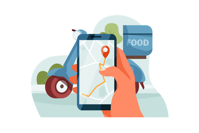 Delivery man checking the delivery location Illustration