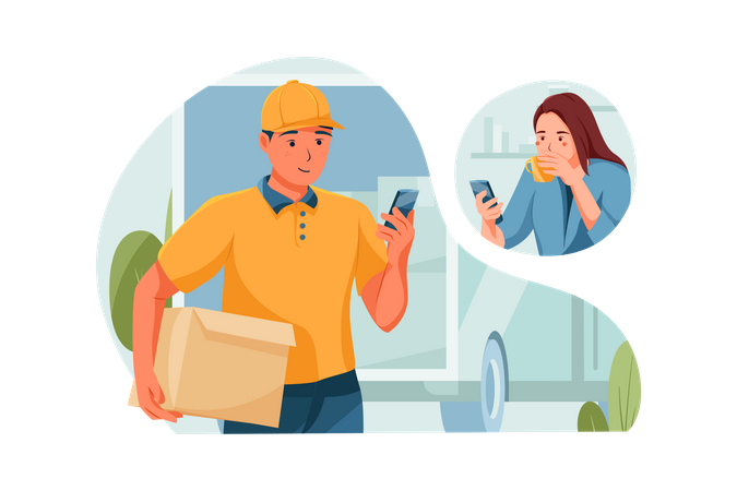Delivery Man confirms the order with his customer Illustration