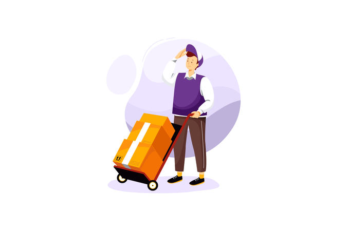 Delivery man deliver multi and heavy packages on the delivery cart Illustration