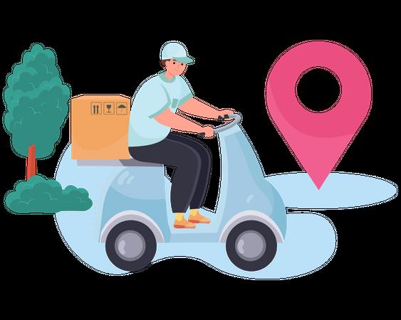 Delivery man deliver order package on a scooter Illustration