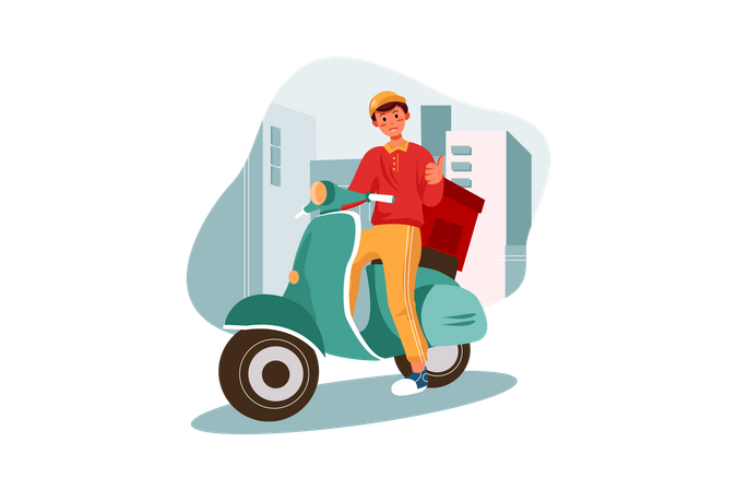 Delivery man deliver package on a scooter Illustration