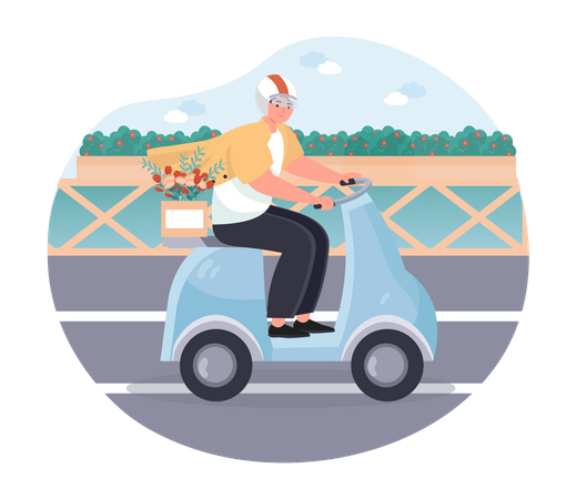 Delivery man delivering a flowers on a scooter Illustration