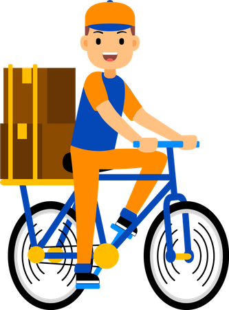 Delivery man delivering a parcel on a cycle Illustration