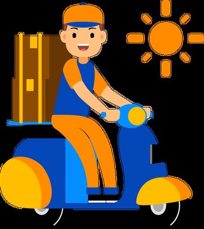 Delivery man delivering a parcel on a scooter Illustration