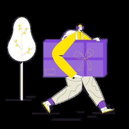 Delivery man delivering gift Illustration