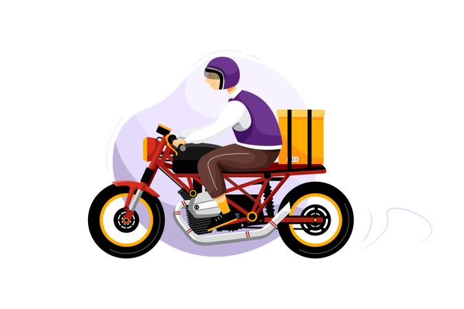 Delivery man delivering order parcel by bike for fast delivery Illustration