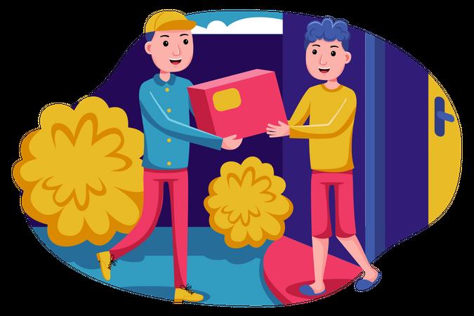 Delivery man delivering pacel Illustration