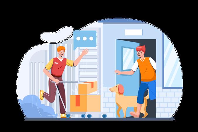 Delivery man delivering package at home Illustration