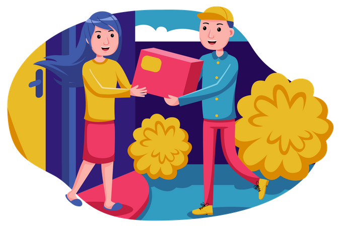 Delivery man delivering parcel Illustration
