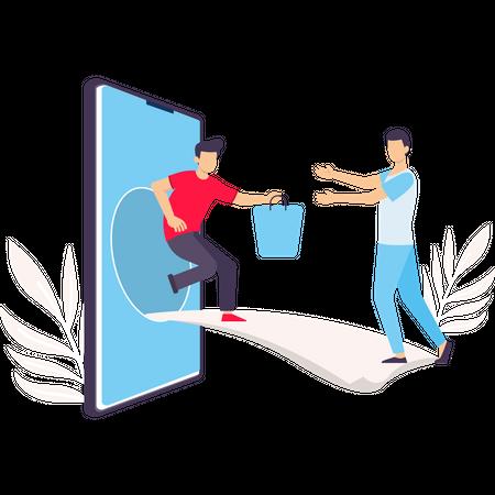 Delivery man delivering parcel to customer through smartphone Illustration