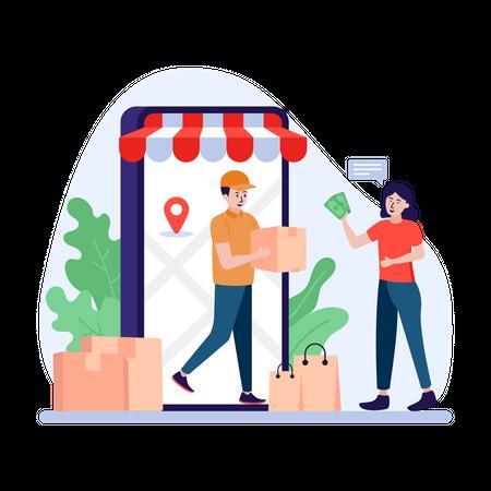 Delivery man delivering through smartphone Illustration