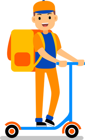 Delivery man delivering with a large backpack on his back ride a scooter Illustration