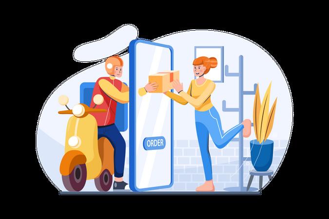 Delivery man delivers online order Illustration