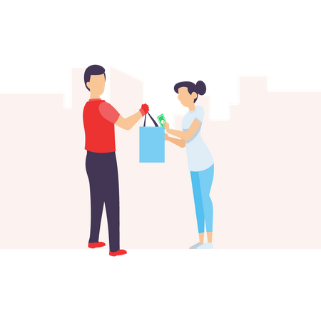Delivery man exchanging money and giving parcel to customer Illustration