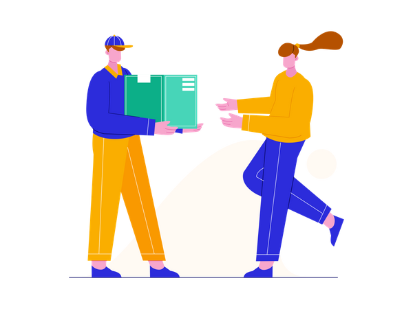 Delivery man giving delivery box to woman Illustration
