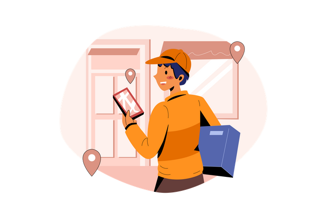 Delivery man giving delivery parcel to the owner Illustration